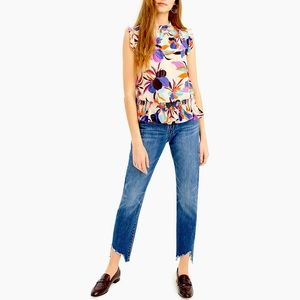NWT J Crew Tropical Floral Smocked Top